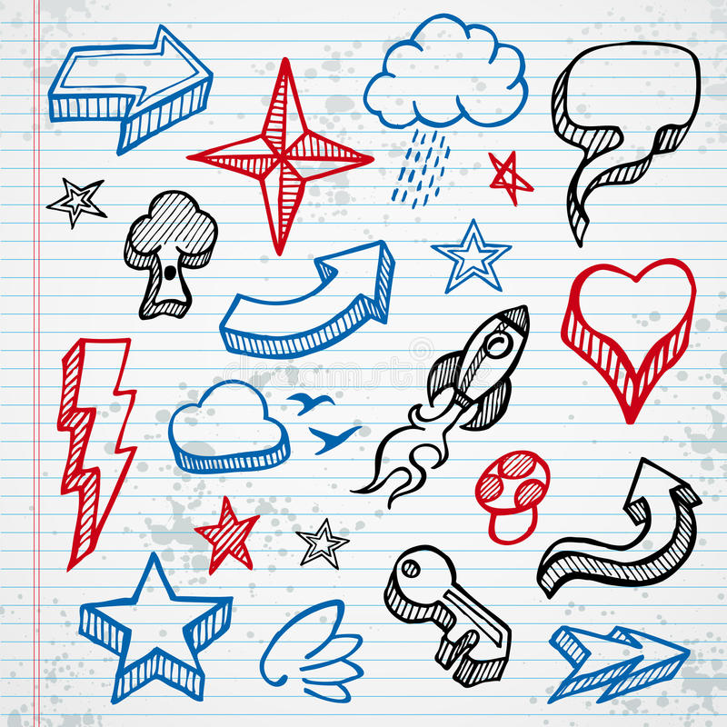 Sketchy icons stock illustration