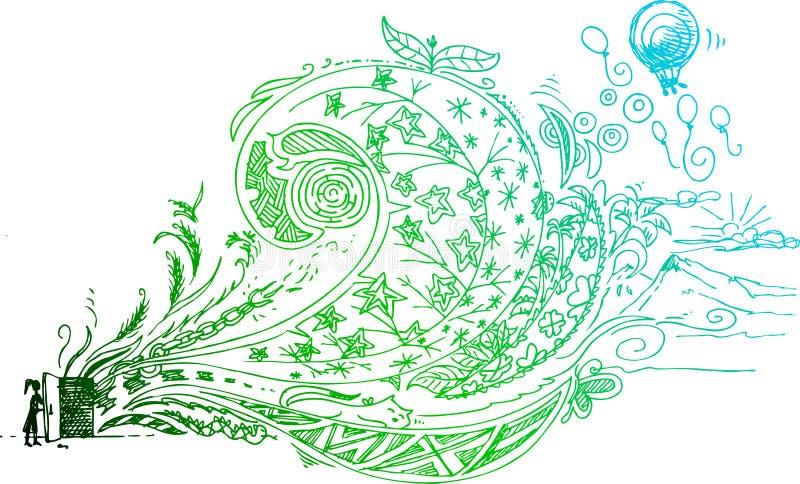 Sketchy klotter av den öppna dörren stock illustrationer