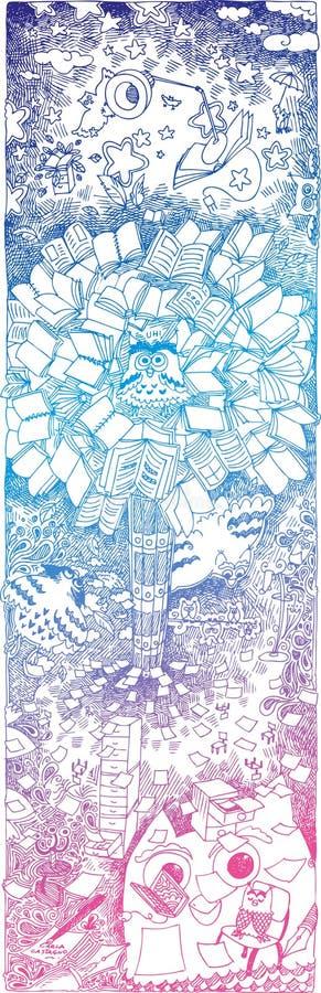 Sketchy klotterowls och bokar stock illustrationer