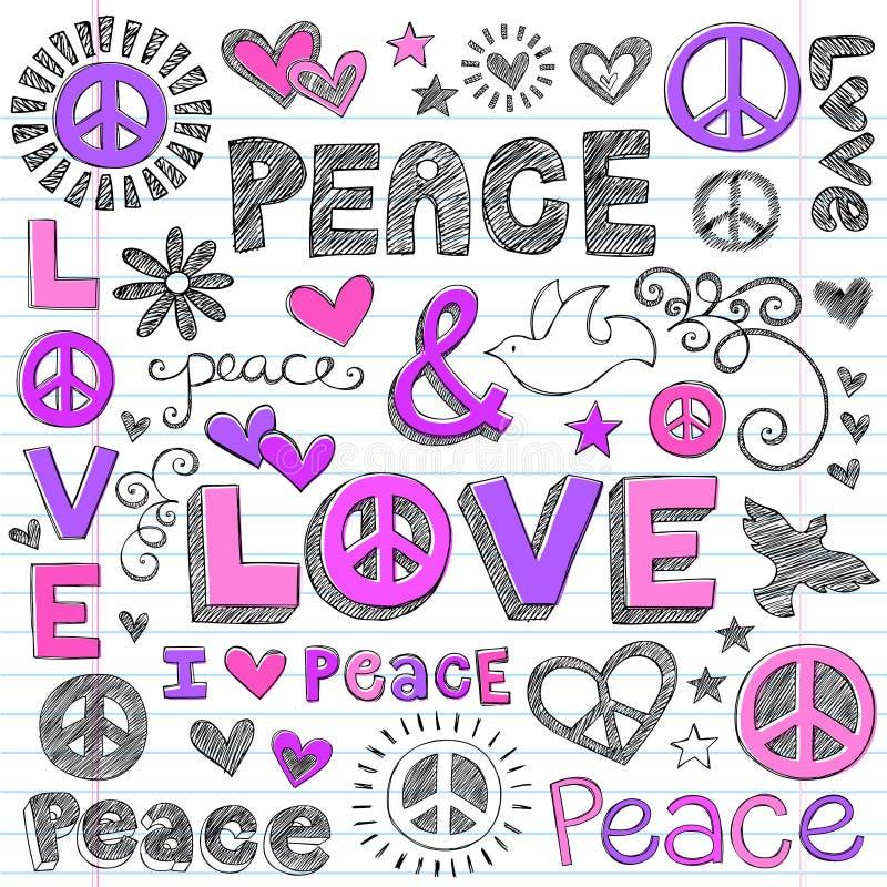 Sketchy klottervektor för fred & för förälskelse stock illustrationer