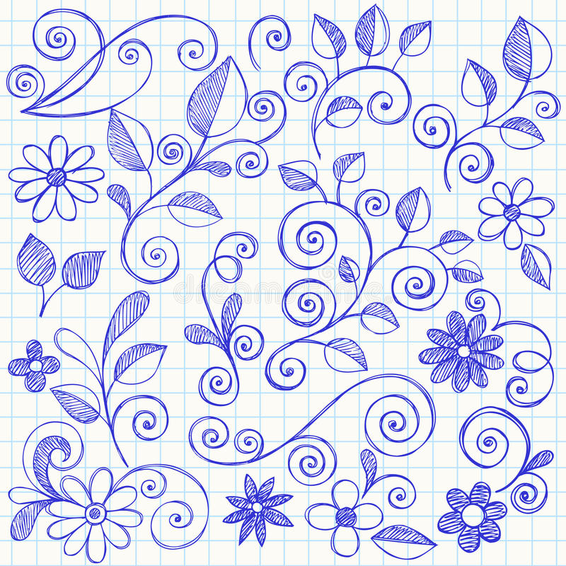 Sketchy Leaves and Vines Notebook Doodles stock illustration