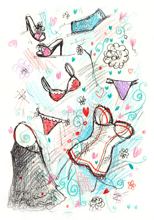 Sketchy Lingerie Royalty Free Stock Photo