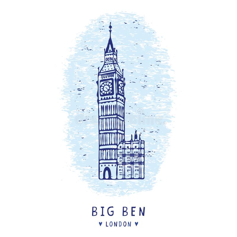 Sketchy London Big Ben clock tower chime clipart elements set. Famous. Historical iconic british symbol for travel vacation wallpaper, british uk sightseeing stock illustration