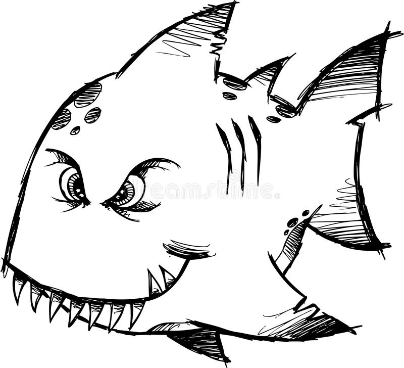 Sketchy Mean fish Vector royalty free illustration