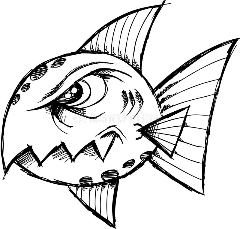 Download Sketchy Mean fish Vector stock vector. Image of vector - 10241413
