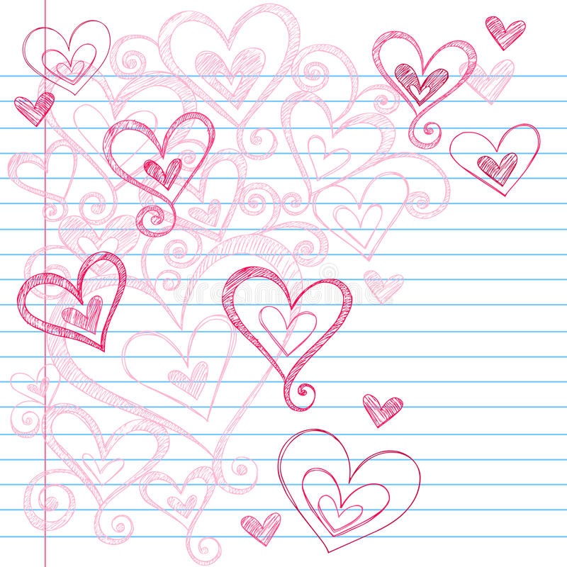 Sketchy Notebook Doodle Hearts royalty free illustration