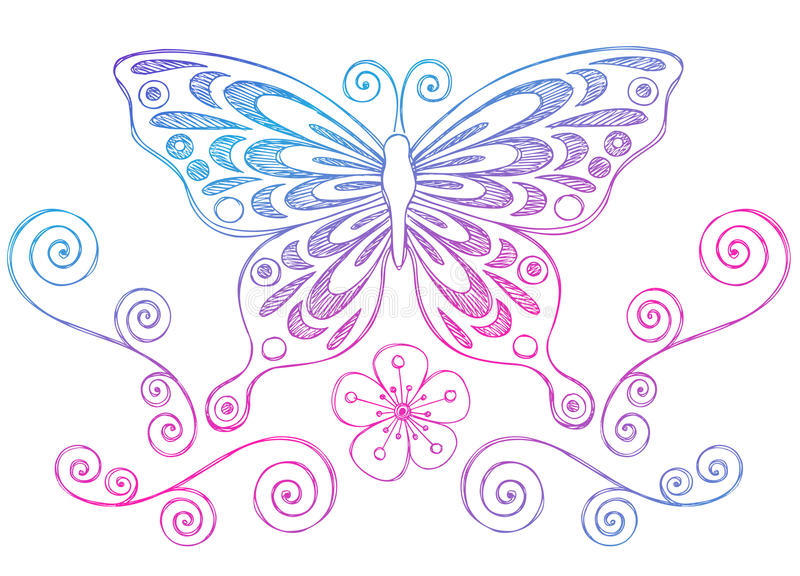 Notebook And Pen Sketch Stock Vector Art More Images Of: Sketchy Notebook Doodles Butterfly And Swirls Stock Vector
