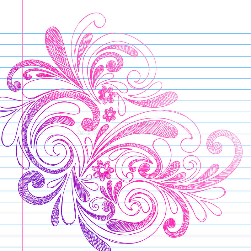 Sketchy Notebook Doodles on Lined Paper Vector stock illustration