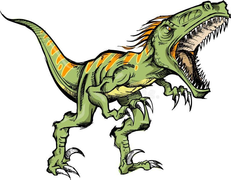 Sketchy Raptor dinosaur. Vector Illustration royalty free illustration