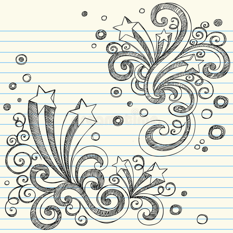 Sketchy Stars Back to School Doodle Set Vector royalty free illustration