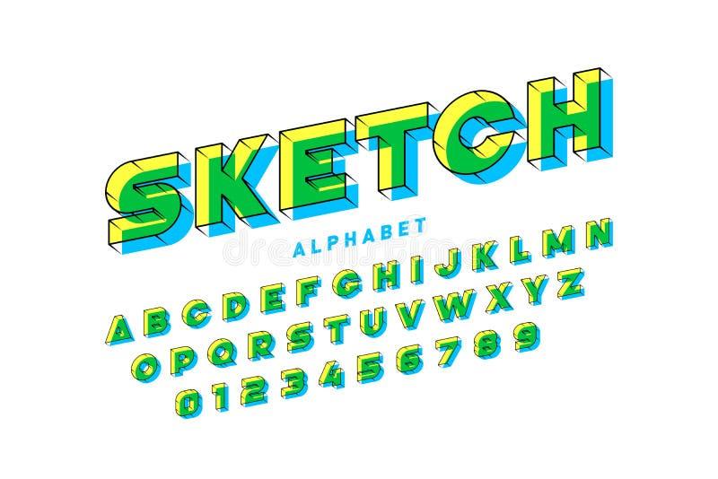 Sketchy stilsort vektor illustrationer