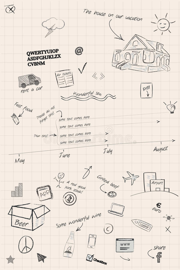Sketchy timeline and planning notes stock photos