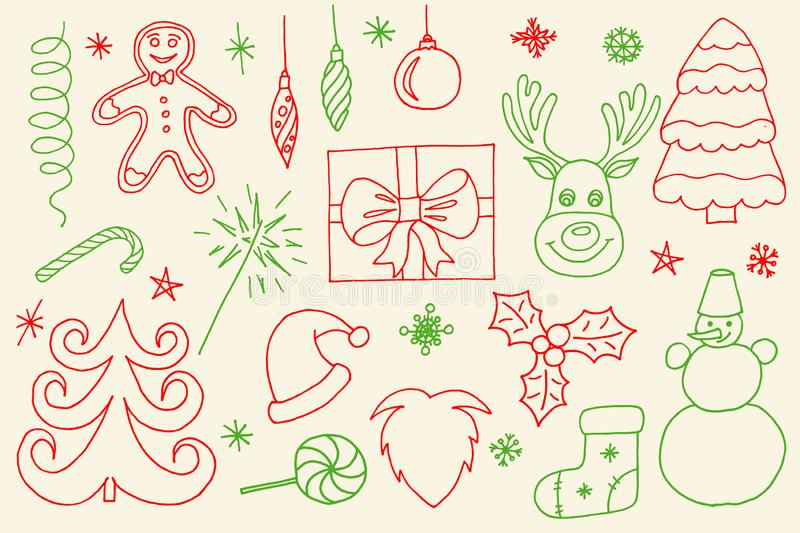 Sketchy vector hand drawn Doodle cartoon set of objects and symbols on the Merry Christmas royalty free stock photo