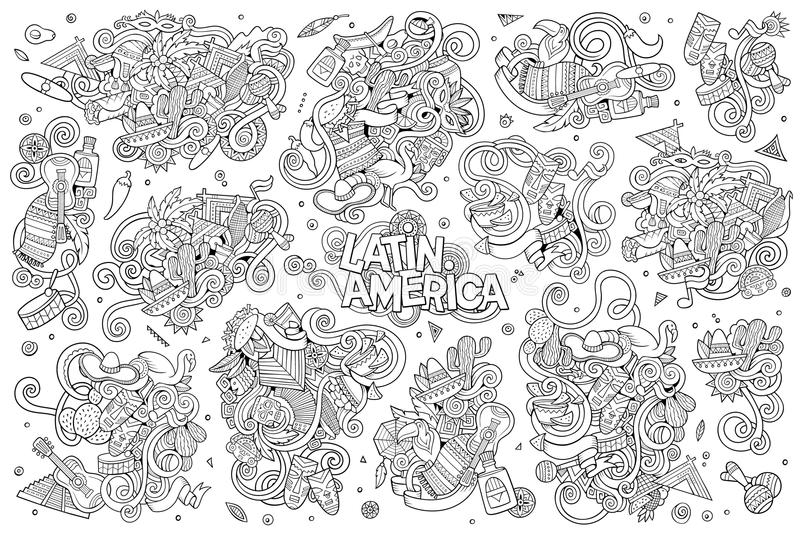 Sketchy Vector Hand Drawn Doodle Latin American Stock Vector