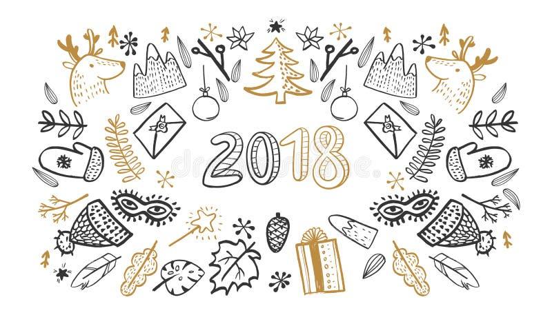 Sketchy vector hand drawn New Year stock illustration