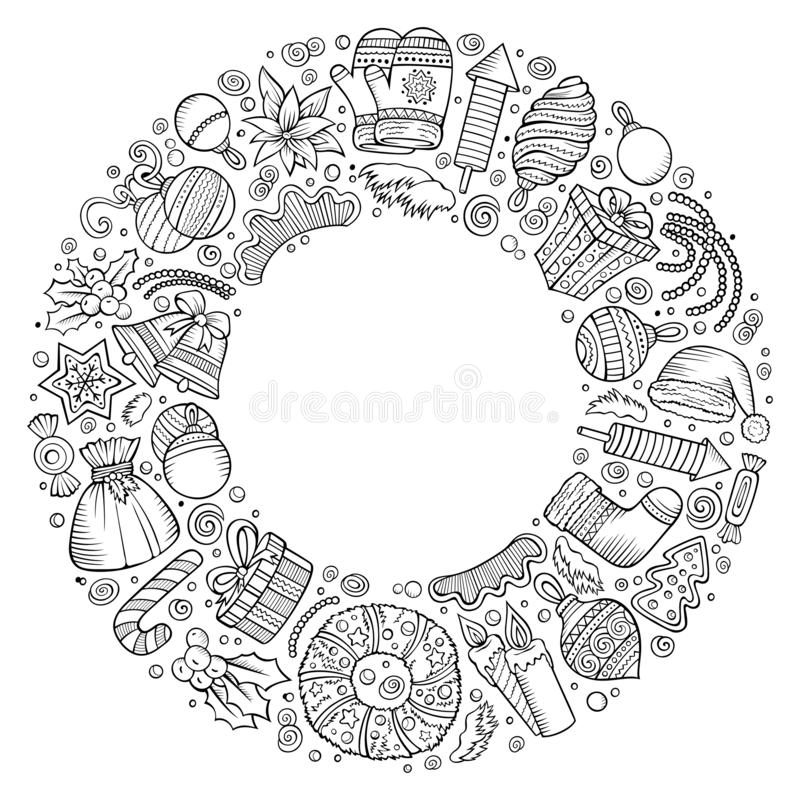 Sketchy vector hand drawn set of New Year cartoon doodle objects royalty free illustration