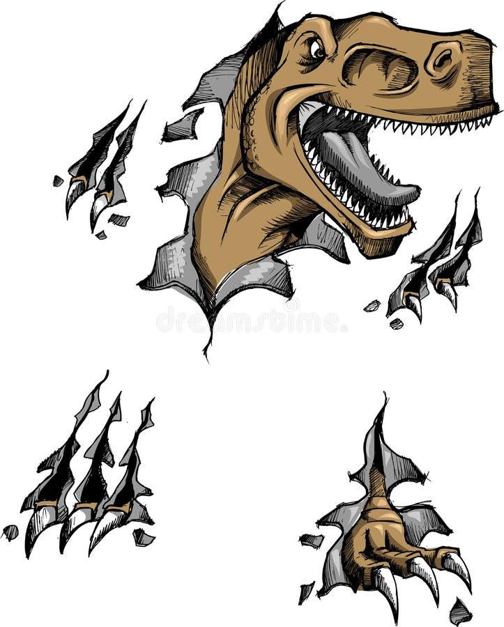 sketchy vektor för dinosaur royaltyfri illustrationer