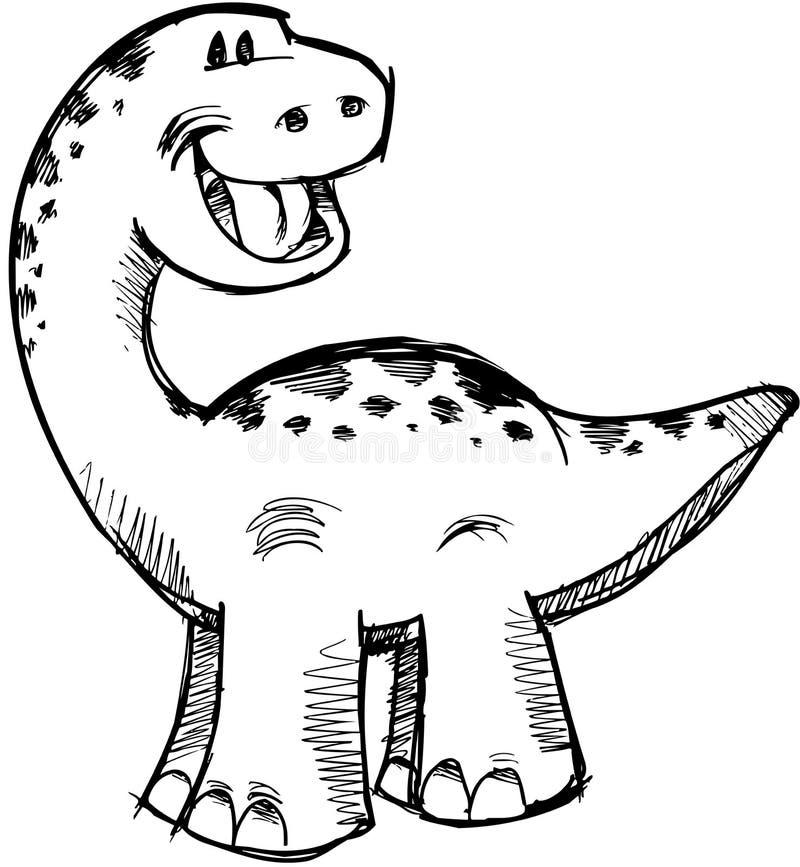 sketchy vektor för gullig dinosaur vektor illustrationer
