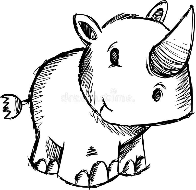 sketchy vektor för noshörningsafari stock illustrationer