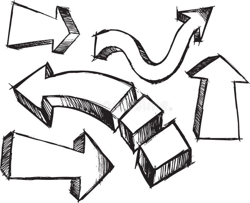 sketchy vektor för pilillustration royaltyfri illustrationer
