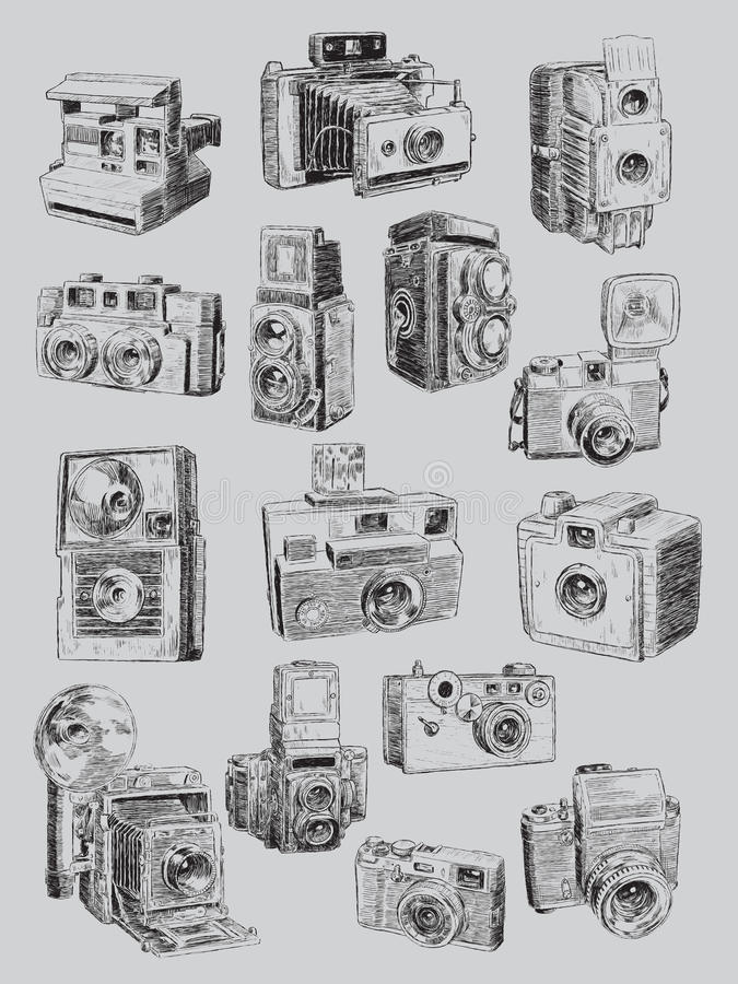 Free Sketchy Vintage Camera Set Stock Photography - 37440772
