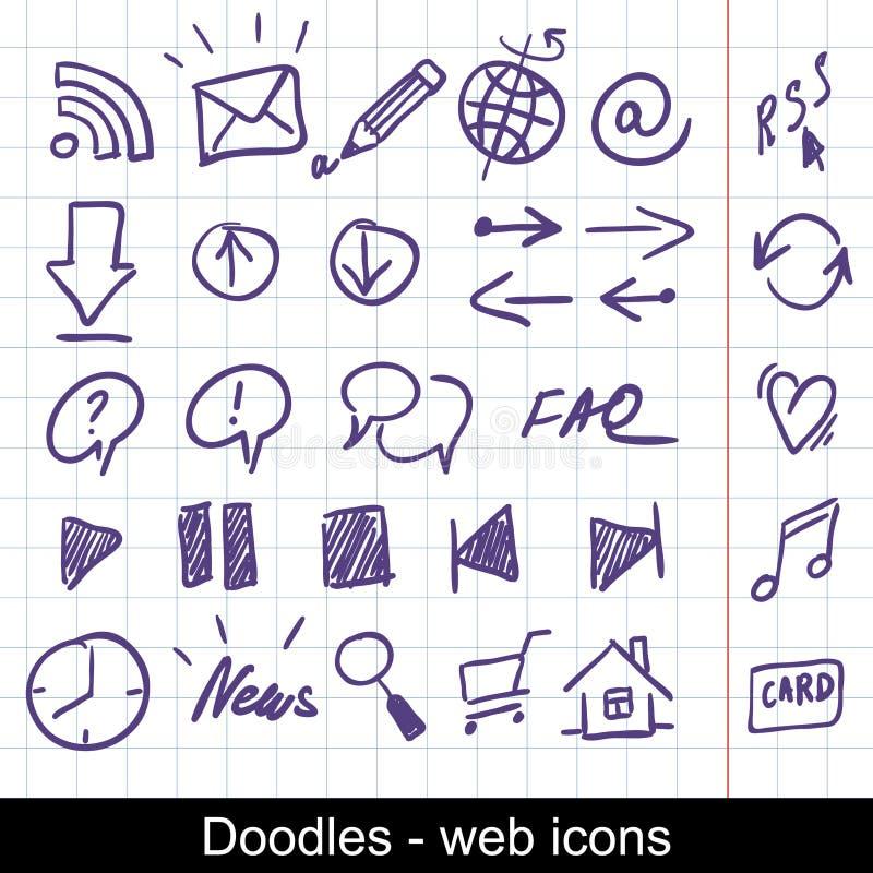 Sketchy web icons stock illustration
