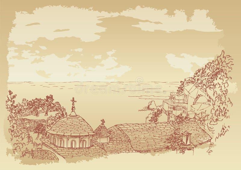 Skete de Kafsokalyvia dans le support Athos illustration libre de droits