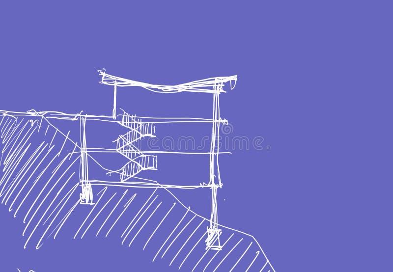 Sketh bonito da casa ilustração royalty free