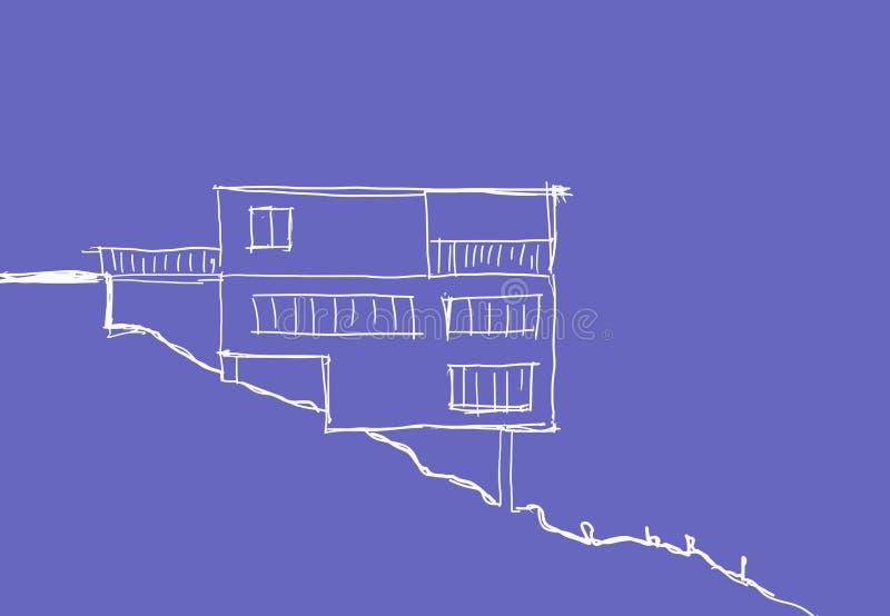 Sketh lindo de la casa ilustración del vector