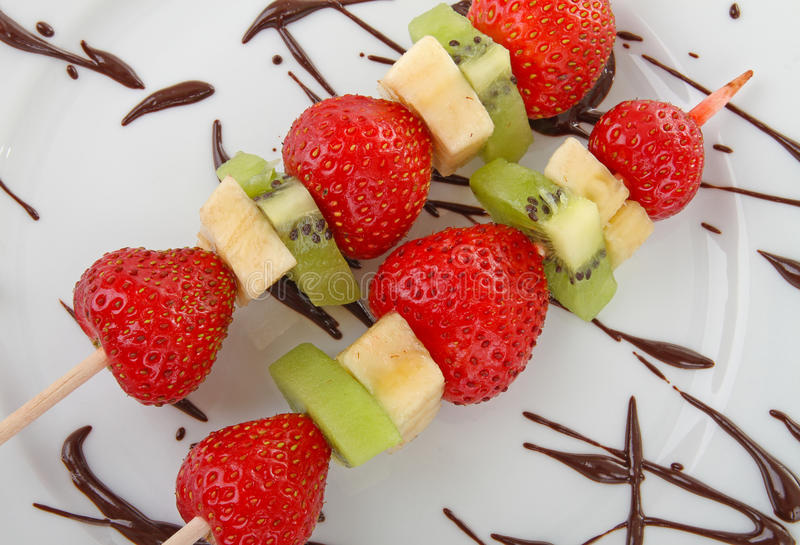 Skewers fruits royalty free stock images