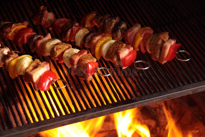 Skewers on the grill royalty free stock photography