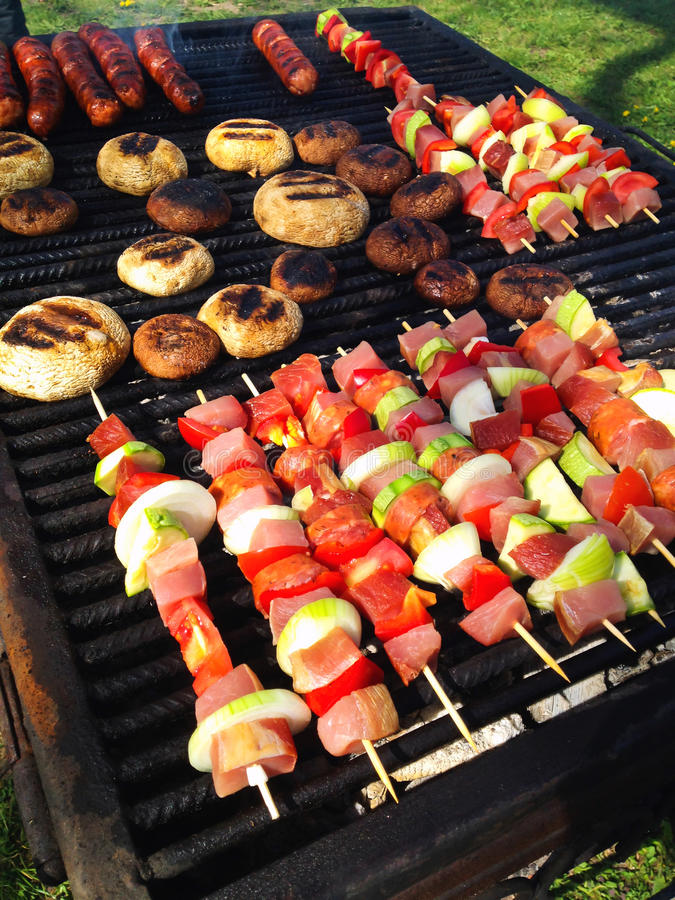 Download Skewers on grill stock photo. Image of ingredients, tasty - 38372166