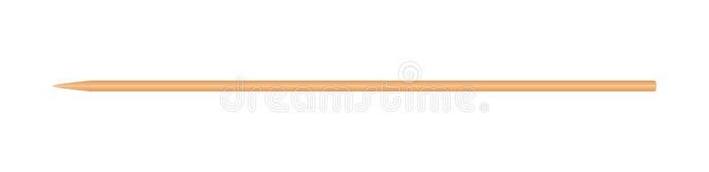 Skewers porady kija drewniany bambus wskazujący cienki odosobniony na białym tle, drewniani skewers używać trzymać kawałków foods ilustracja wektor