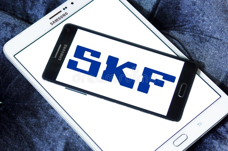 SKF company logo. Logo of SKF company on samsung mobile. SKF is a leading bearing and seal manufacturing company. The company manufactures and supplies bearings royalty free stock images