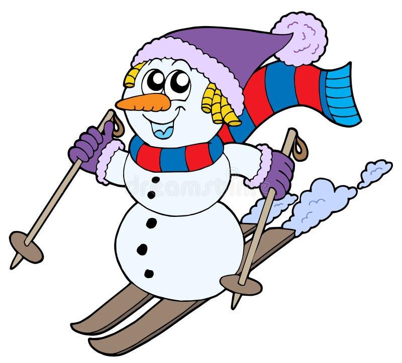 Skiånde sneeuwman stock illustratie