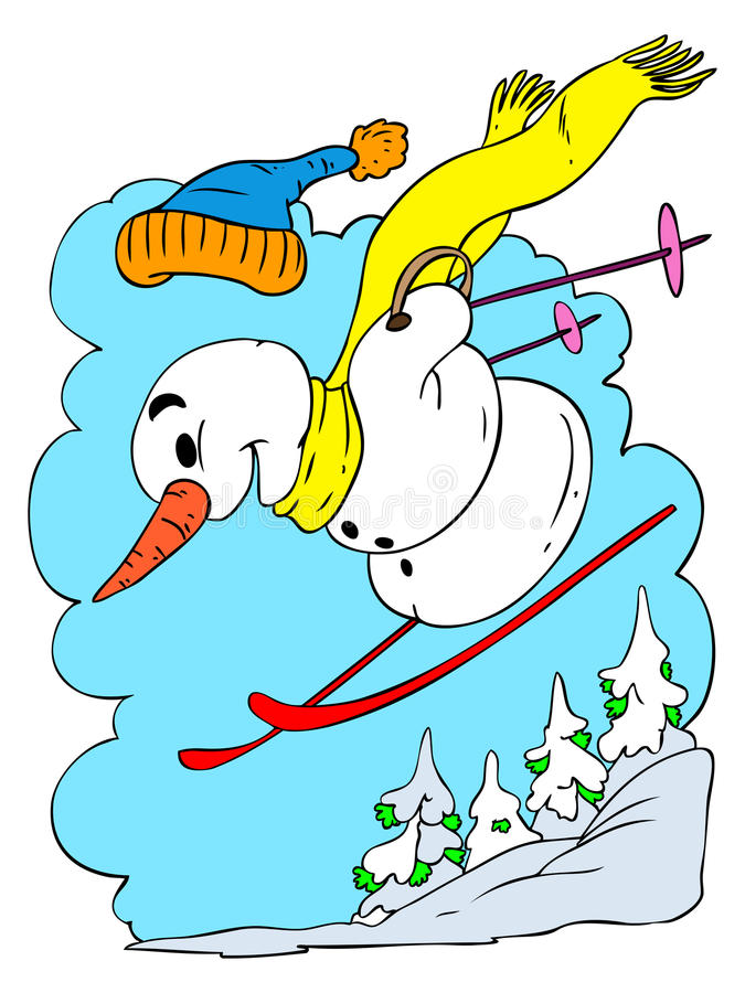 Skiånde Sneeuwman vector illustratie