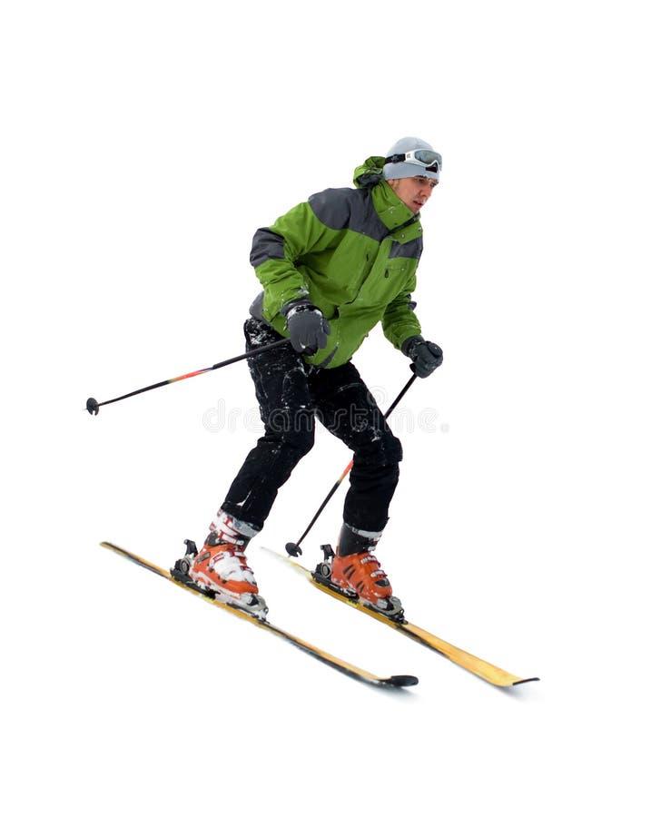 Skiër die op wit wordt geïsoleerdo royalty-vrije stock fotografie