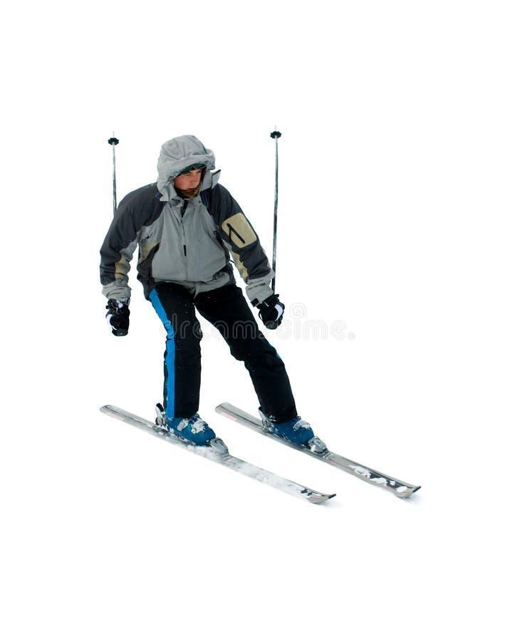 Skiër die op wit wordt geïsoleerdT stock foto