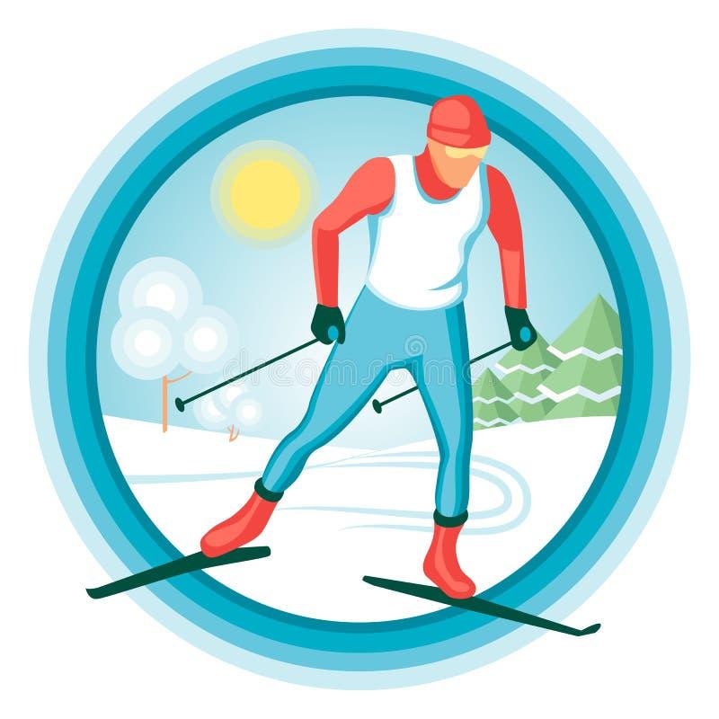Skiër op de achtergrond van het de winterlandschap royalty-vrije stock fotografie