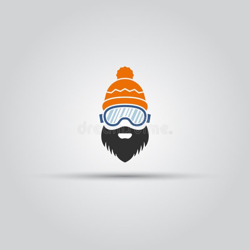 Skiërhoofd met baardvector geïsoleerd pictogram stock illustratie