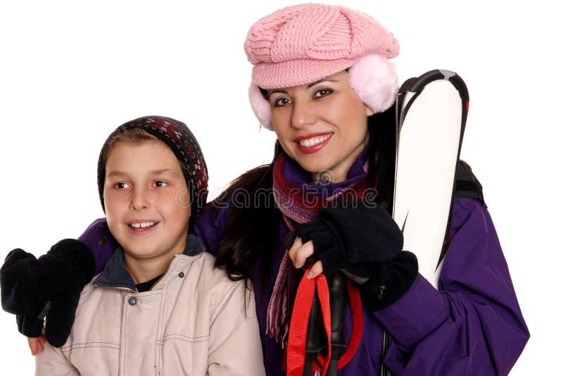 Skiërs royalty-vrije stock foto's