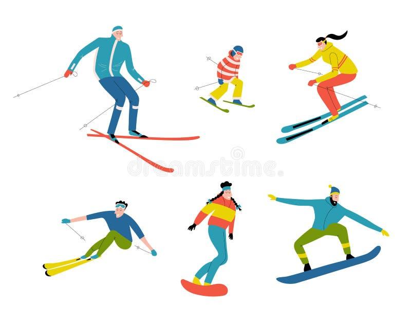 Skiërs en snowboarders, leuke krabbelmensen Grappige beeldverhaalmannen, vrouwen en kind in de skitoevlucht stock illustratie