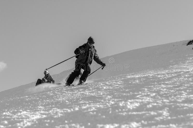 Skiërs op skihellingen in Karpatische bergen stock afbeelding