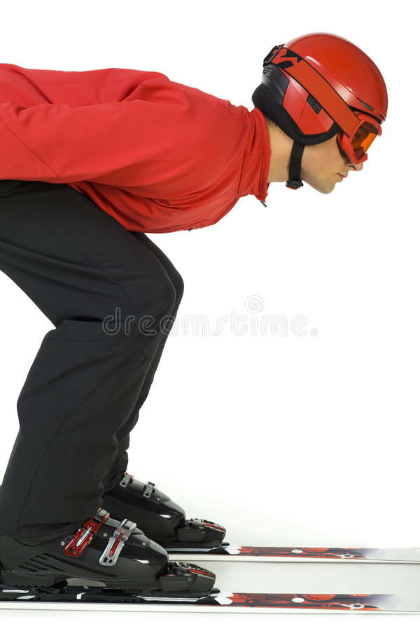 Skiüberbrücker betriebsbereit zu springen stockbilder