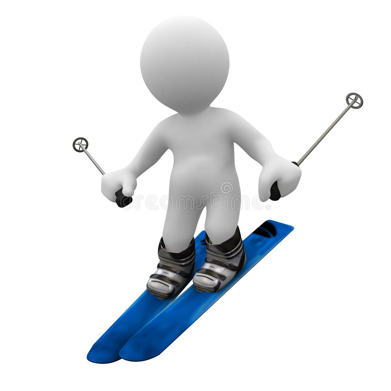 Ski. 3d human speed up with ski in foot vector illustration