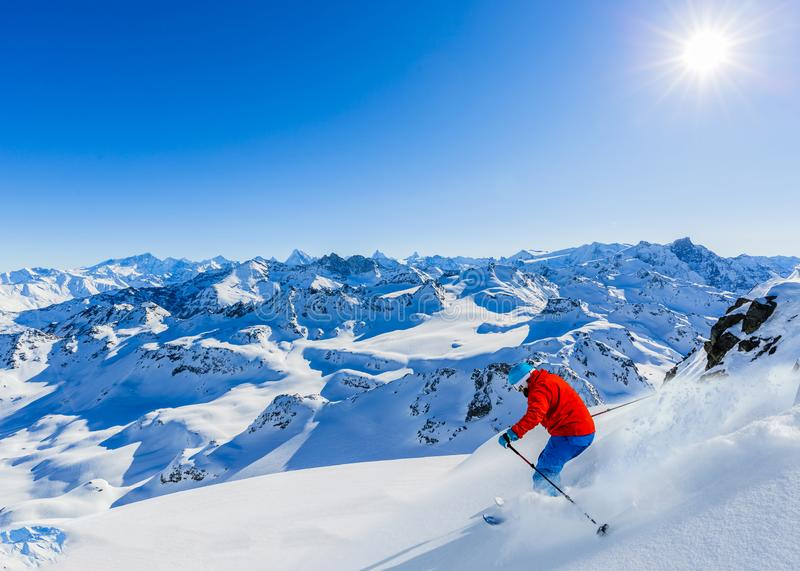 Ski area with amazing view of swiss famous mountains in beautiful winter snow Mt Fort. The matterhorn and the Dent d`Herens. In. The foreground the Grand Desert stock photography