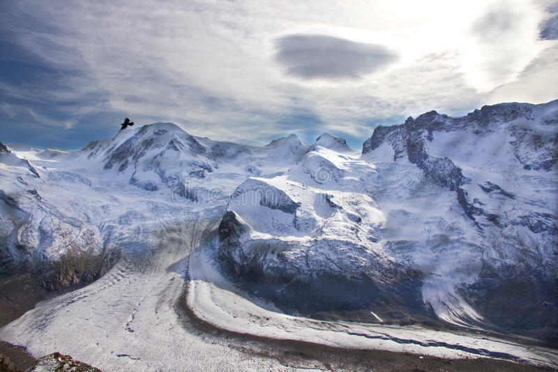 Ski area at Gornergrat. In Autumn stock image
