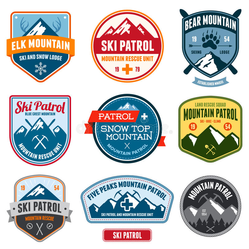 Ski badges. Set of ski patrol mountain badges and patches