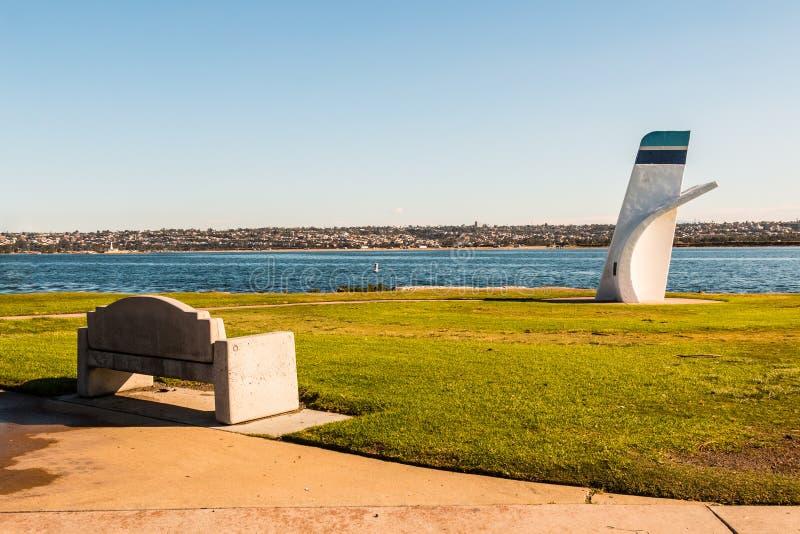 Ski Beach Park con Bill Muncey Memorial a San Diego fotografia stock libera da diritti