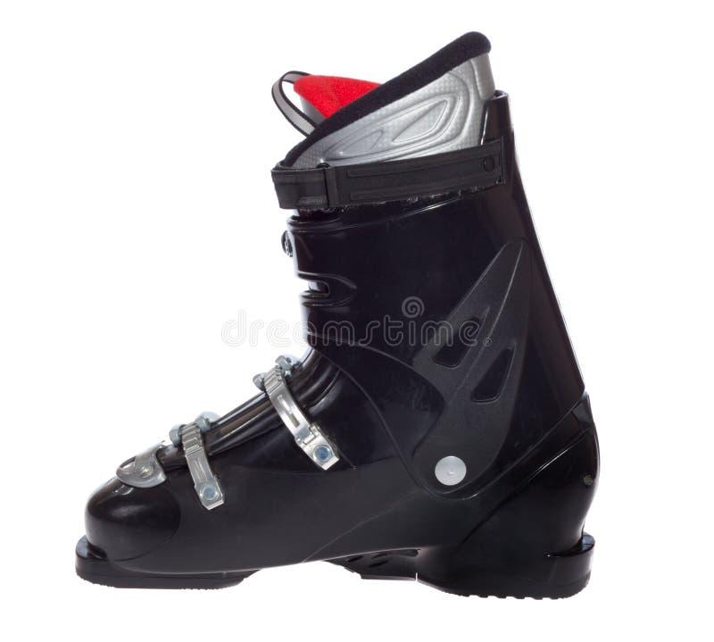 Alpine Ski Boots In Ski Binding Closeup Stock Image
